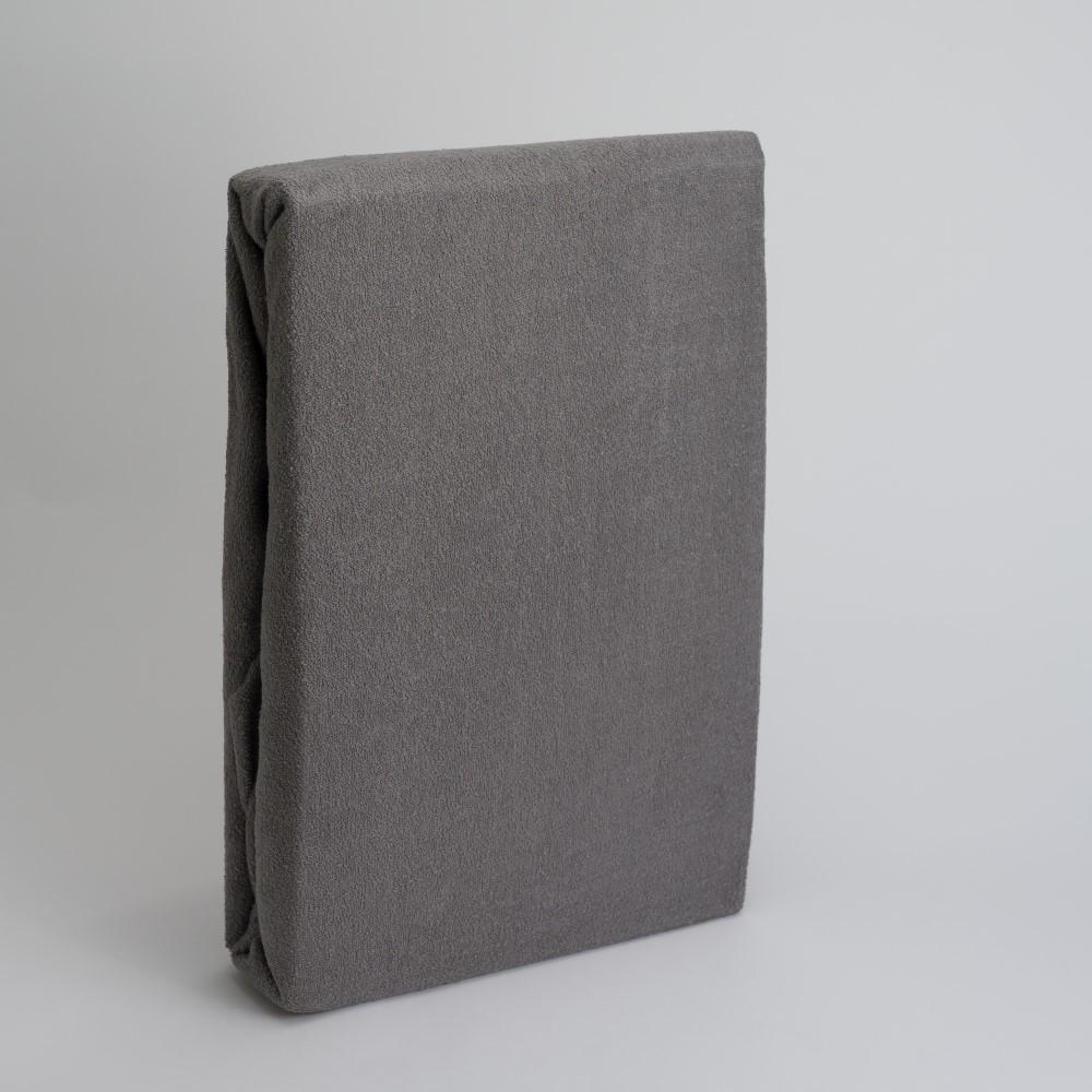 Frottee Spannbettlaken Betttuch 100% Baumwolle-Grau-200x200+28cm