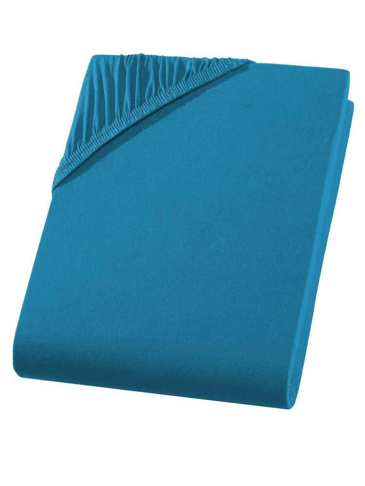 Heavy Jersey Spannbettlaken Topper Bettlaken 100% Baumwolle 9 Größen 10 Farben-Petrol-160x200+15cm