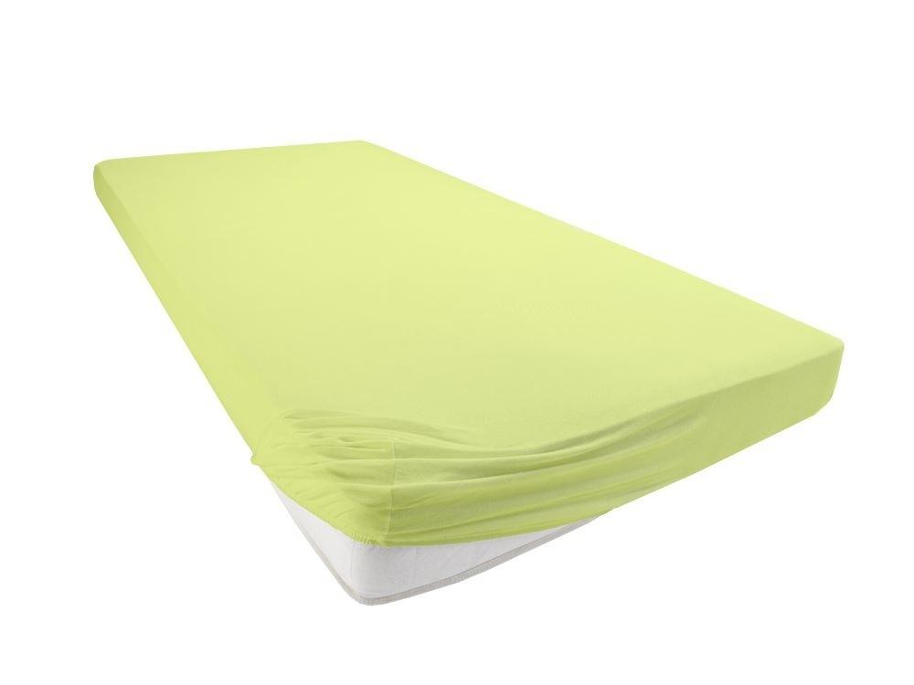 Jersey Spannbettlaken Betttuch Bettlacken 100% Baumwolle-Apfelgrün-130x200+28 Cm