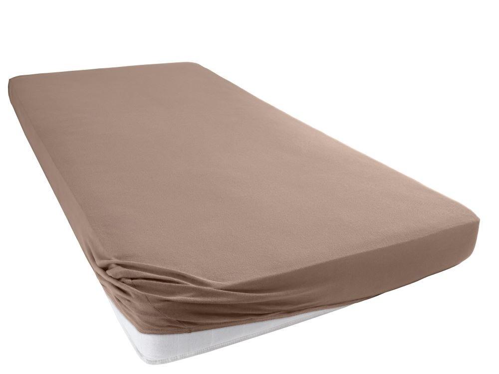 Jersey Spannbettlaken Betttuch Bettlacken 100% Baumwolle-Nougat-130x200+28 Cm