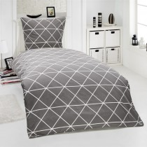 2-tlg Renforcé Bettwäsche 100% Baumwolle Designs-Anthrazit-155x220cm + 80x80cm 2er Tlg