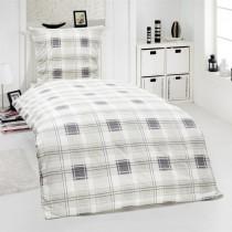 2-tlg Renforcé Bettwäsche 100% Baumwolle Designs-Silber-135x200cm + 80x80cm 2er Tlg
