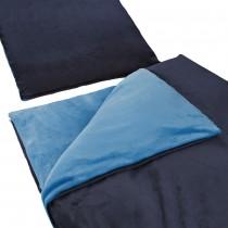 """Uni Wende Bettwäsche """"Cashmere Touch"""" Plüsch Nicki Teddy Flausch coral fleece -Navy / Hellblau-155x220cm + 80x80cm 2er Tlg"""