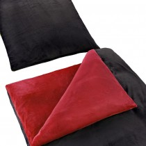 """Uni Wende Bettwäsche """"Cashmere Touch"""" Plüsch Nicki Teddy Flausch coral fleece -Rot / Schwarz-155x220cm + 80x80cm 2er Tlg"""