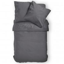 Renforcé Uni Bettwäsche aus 100% Baumwolle in 11 Farben-Anthrazit-155x220cm + 80x80cm 2er Tlg