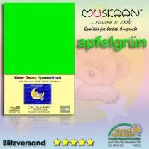 Kinder / Baby Jersey Spannbettlaken Spannbetttuch Betttuch Baumwolle 70x140 cm-Apfelgrün-70x140+28cm