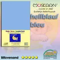 Kinder / Baby Jersey Spannbettlaken Spannbetttuch Betttuch Baumwolle 70x140 cm-Hellblau-70x140+28cm