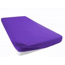 Jersey Spannbettlaken Betttuch Bettlacken 100% Baumwolle-Lila / Violett-100x200+28 Cm