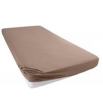 Jersey Spannbettlaken Betttuch Bettlacken 100% Baumwolle-Nougat-160x200+28 Cm