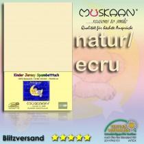 Kinder / Baby Jersey Spannbettlaken Spannbetttuch Betttuch Baumwolle 70x140 cm-Natur-70x140+28cm