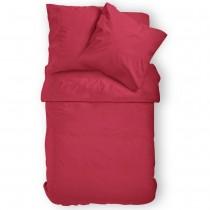 Renforcé Uni Bettwäsche aus 100% Baumwolle in 11 Farben-Rot-135x200cm + 80x80cm 2er Tlg