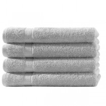 4er Pack Handtücher 100% Baumwolle 500g/m² -Silber-50x100cm
