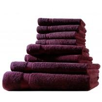 Frottiertuch XL-Set  8-tlg. - 100% Baumwolle, 500g/m² -Bordeaux