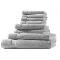 Frottiertuch XL-Set  8-tlg. - 100% Baumwolle, 500g/m² -Silber