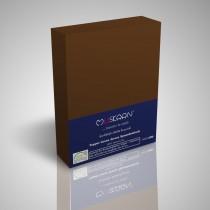 BOXSPRING TOPPER JERSEY SPANNBETTLAKEN 100% Baumwolle-SchokoBraun-200x200+15cm