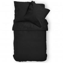 Renforcé Uni Bettwäsche aus 100% Baumwolle in 11 Farben-Schwarz-135x200cm + 80x80cm 2er Tlg