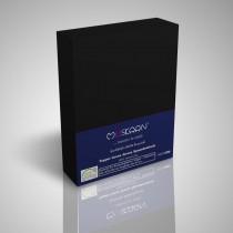 BOXSPRING TOPPER JERSEY SPANNBETTLAKEN 100% Baumwolle-Schwarz-200x200+15cm