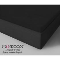 BOXSPRING TOPPER JERSEY SPANNBETTLAKEN 100% Baumwolle-Schwarz-160x200+15cm
