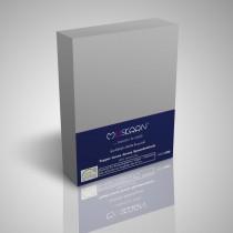 BOXSPRING TOPPER JERSEY SPANNBETTLAKEN 100% Baumwolle-Silber-200x200+15cm