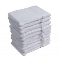 10er Pack Waschhandschuhe 16x21cm 500g/m² 100% Baumwolle-Weiß