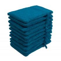 10er Pack Waschhandschuhe 16x21cm 500g/m² 100% Baumwolle-Petrol