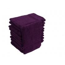 10er Pack Waschhandschuhe 16x21cm 500g/m² 100% Baumwolle-Aubergine