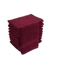 10er Pack Waschhandschuhe 16x21cm 500g/m² 100% Baumwolle-Bordeaux