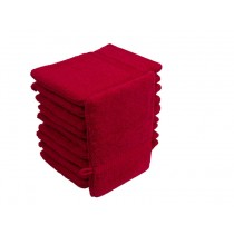 10er Pack Waschhandschuhe 16x21cm 500g/m² 100% Baumwolle-Rot