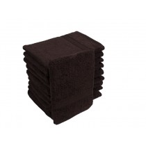 10er Pack Waschhandschuhe 16x21cm 500g/m² 100% Baumwolle-Kaffeebraun