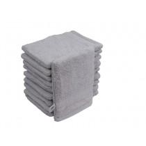 10er Pack Waschhandschuhe 16x21cm 500g/m² 100% Baumwolle-Silber