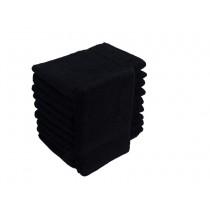 10er Pack Waschhandschuhe 16x21cm 500g/m² 100% Baumwolle-Schwarz